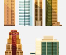 City building skyscrapers template vector set 01
