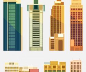 City building skyscrapers template vector set 02