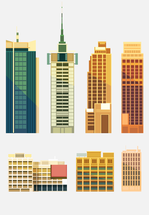 City Building Skyscrapers Template Vector Set 02 Vector Architecture Free D