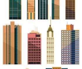 City building skyscrapers template vector set 03