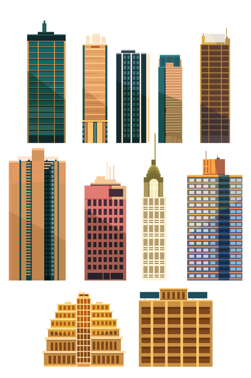 city building skyscrapers template vector set 03 free download