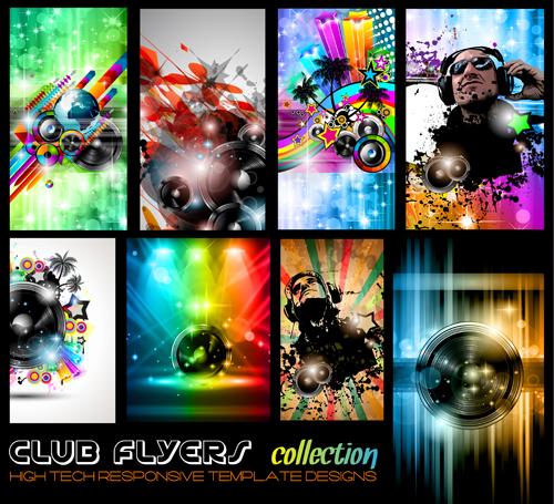 Club flyers template vector 01