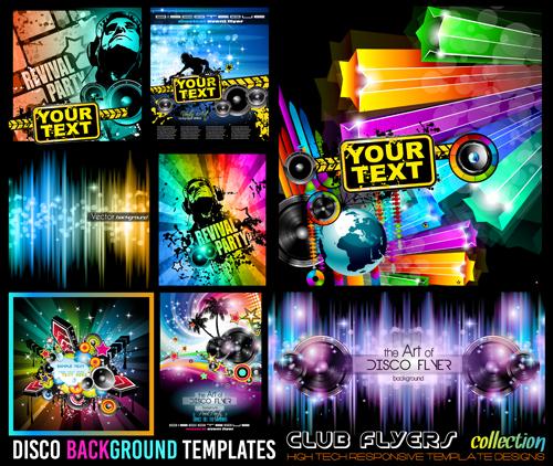 Club flyers template vector 04