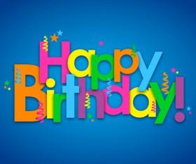 Colored happy birthday text design vector