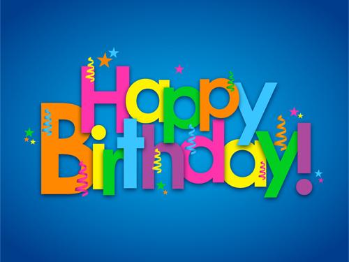 Happy Birthday Fonts ~ Colored happy birthday text design vector vector festival free