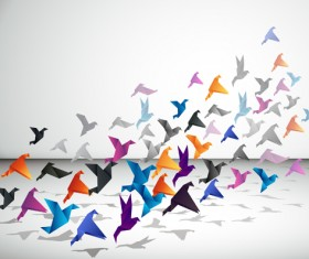 Colorful origami birds vector 01