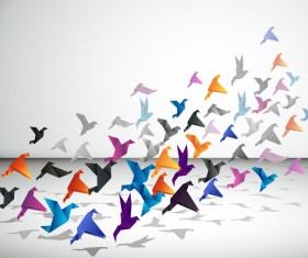 Colorful origami birds vector 01