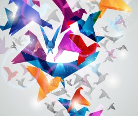 Colorful origami birds vector 02