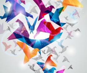 Colorful origami birds vector 02