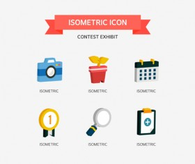 Contest Exhibit Isometric Icons vector