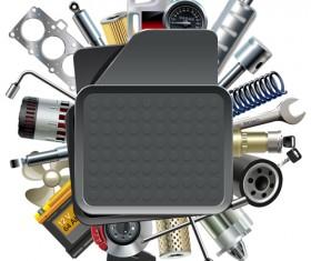Creative car parts background vector 02