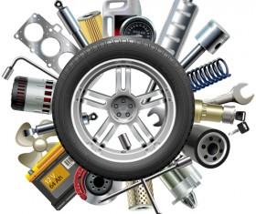 Creative car parts background vector 05