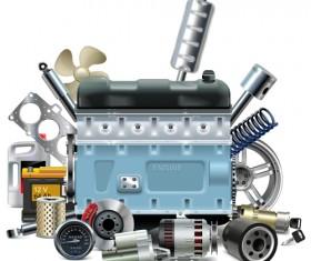 Creative car parts background vector 08