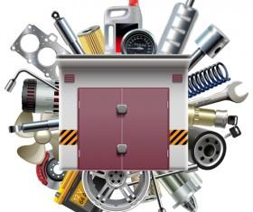 Creative car parts background vector 09