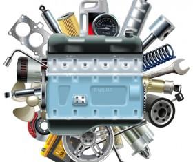 Creative car parts background vector 10