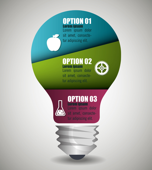 Creative lightbulb infographic vectors material 01