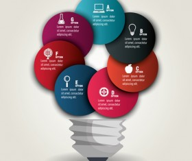 Creative lightbulb infographic vectors material 02