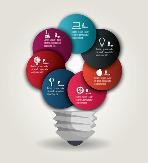 Creative lightbulb infographic vectors material 02