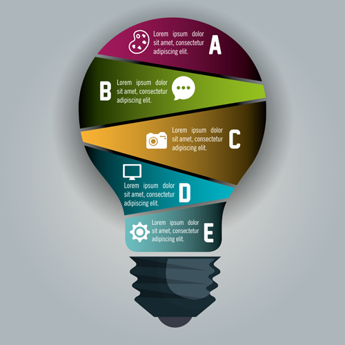 Creative lightbulb infographic vectors material 05