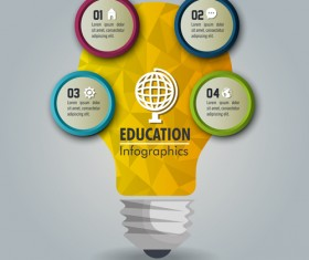 Creative lightbulb infographic vectors material 06
