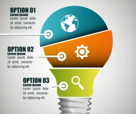 Creative lightbulb infographic vectors material 07