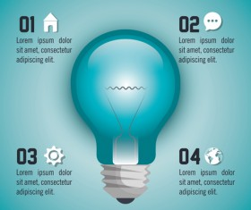 Creative lightbulb infographic vectors material 08