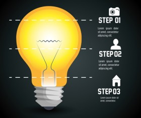 Creative lightbulb infographic vectors material 09