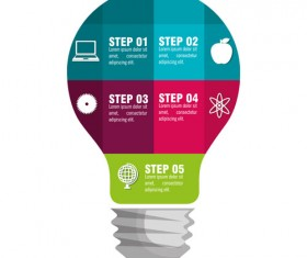 Creative lightbulb infographic vectors material 10