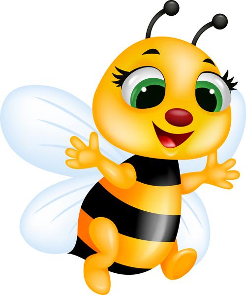 cute bee cartoon vector illustration 07   vector animal
