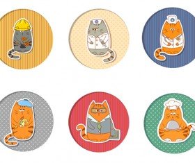 Cute cats round icons vector