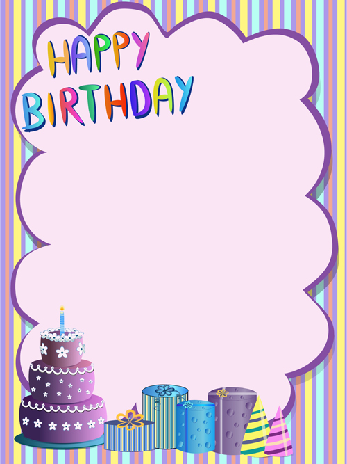 cute happy birthday greeting card vector   vector card free, Birthday card
