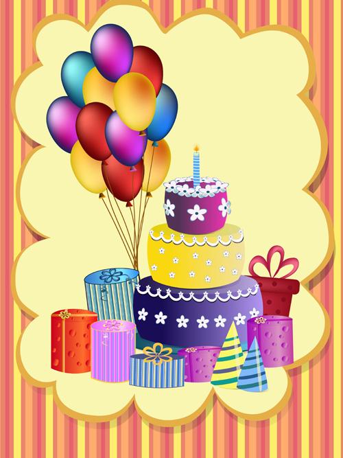 Cute happy birthday greeting card vector 02 Vector Card free – Cute Birthday Greeting Cards