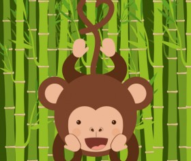 Cute monkey with bamboo vector 07