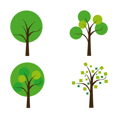 cute tree vector illustration set 01 free download rh freedesignfile com tree vector silhouette tree vector silhouette