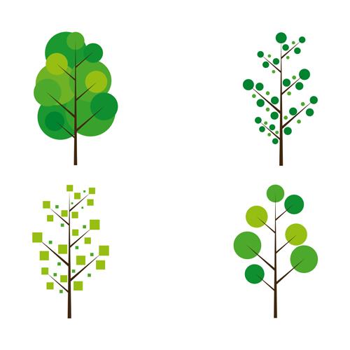 Cute tree vector illustration set 02