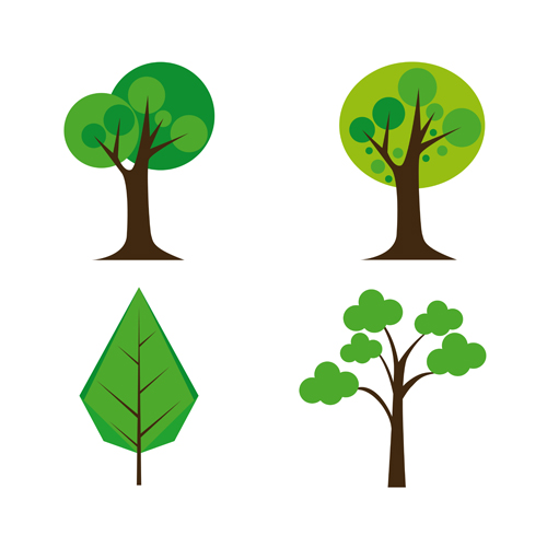 Cute tree vector illustration set 03 - Vector Plant free download