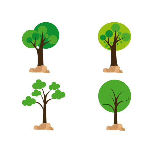 Cute tree vector illustration set 06