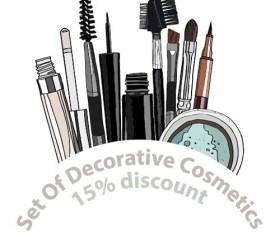Decorative cosmetics discount poster vector 06