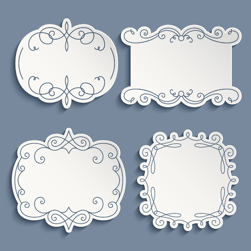 decorative paper frame vintage vector 01