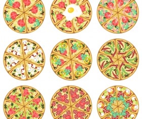 Delicious pizza round icons 01