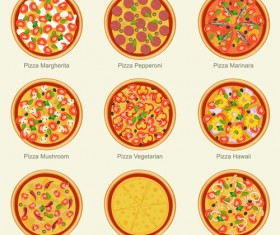 Delicious pizza round icons 02