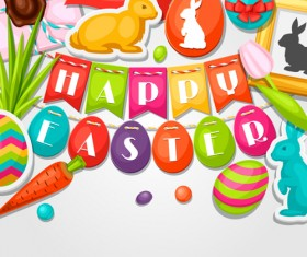 Easter background with sticker vector