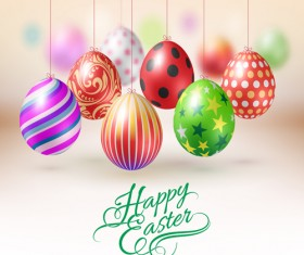 Easter hanging egg with blurs background vector 03