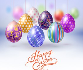 Easter hanging egg with blurs background vector 04