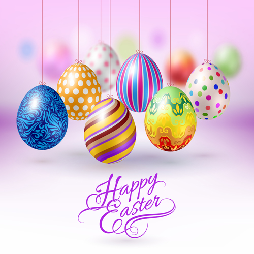 Easter hanging egg with blurs background vector 05