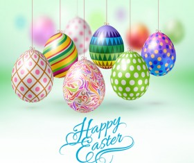 Easter hanging egg with blurs background vector 06
