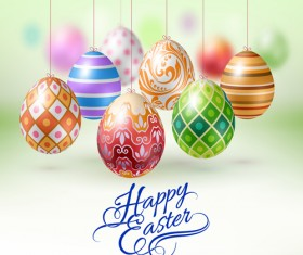 Easter hanging egg with blurs background vector 07