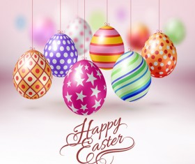 Easter hanging egg with blurs background vector 08