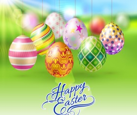 Easter hanging egg with blurs background vector 09