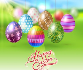 Easter hanging egg with blurs background vector 10